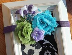 Girls Purple Fabric and Shabby Flower Headband by Made4YouBoutique, $13.00