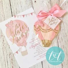 Hot Air Balloon Cookies and Invitation, oh the places she'll go baby shower