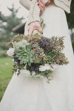 Foraged Wedding Florals of Gardenista, Cozy Portland Wedding by Emily G. Photography via Ruffled Blog