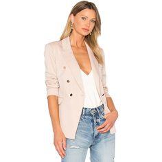 Bardot Tailored Blazer ($110) ❤ liked on Polyvore featuring outerwear, jackets, blazers, coats & jackets, short-sleeve blazers, pink jacket, tailored blazer, button jacket and tailored jacket