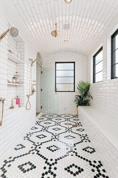 Beautiful master bathroom decor tips. Modern Farmhouse, Rustic Modern, Classic, light and airy master bathroom design tips. Bathroom makeover suggestions and bathroom remodel some ideas. Moroccan Bathroom, White Bathroom, Bathroom Interior, White Shower, Moroccan Decor, Bathroom Vintage, Brass Bathroom, Moroccan Design, Bathroom Fixtures