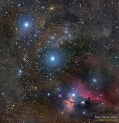 "Belt of Orion. The three bright blue stars, diagonally from the upper left, are Mintaka, Alnilam and Alnitak. Near Alnitak you can also pick out the Flame Nebula and the Horsehead Nebula. (Credit & copyright: Rogelio Bernal Andreo) Mona Evans, ""Orion the Hunter"" http://www.bellaonline.com/articles/art19756.asp"