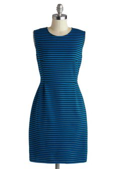 Buenos Aires Arrival Dress - Mid-length, Black, Stripes, Pockets, Party, Sheath / Shift, Sleeveless, Blue, Exposed zipper, Work