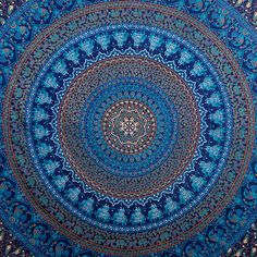 "Elephant Mandala ~ 100% cotton, screen printed vegetable dyes, 90"" x 90""; dry clean or cold water wash; $19.99 + $12.00 s/h"