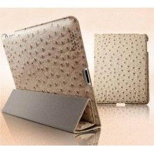 Ostrich Leather Smart Cover iPad 2 / New iPad Case - Nude