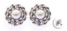 Titanium Flower Setting Pearl & Cz Stone Earrings - Titanium Earrings at Elma UK Jewellery