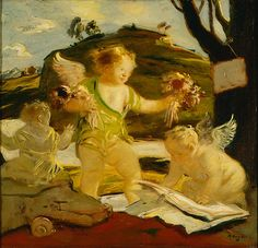 Adolf Hengeler (German, 1863-1927). Three Putti, n.d. Oil on canvas. 227/8 x 243/8 in. Charles and Emma Frye Collection, 1952.065