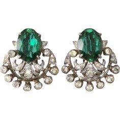 De Rosa Sterling Emerald Green & Rhinestone Earrings