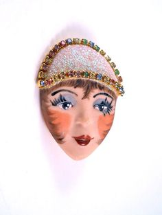 Cute Lady Brooch With Rhinestones.  $8.00