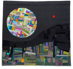 ECLIPSE. Cecilia Koppmann.  Patchwork & Cía 155 x150m. 2013 Improvisational piecing, hand dyed fabrics, reverse apliqué and apliqué