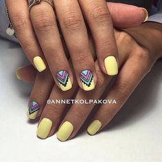 Beautiful summer nails Bright summer nails Drawings on nails Ethnic nails Manicure by summer dress Medium nails Nail designs with pattern Nails ideas 2017 Bright Summer Nails, Bright Nails, Yellow Nails, Nail Art Design Gallery, Best Nail Art Designs, Nails 2017, Super Nails, Stylish Nails, Nagel Gel