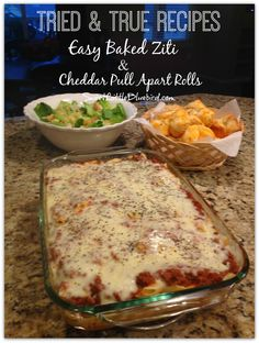 EASY BAKED ZITI and CHEDDAR PULL APART ROLLS! Two tried & true recipes that got rave reviews from my family and were a cinch to make! The rolls are made with refrigerated biscuits with just a 5 minute prep! My picky 11 year old went back for thirds for the Ziti! | SweetLittleBluebird.com