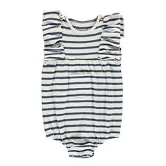 Violin Striped Ruffled Romper Louis Louise Baby- A large selection of Fashion on Smallable, the Family Concept Store - More than 600 brands.