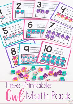This owl mini eraser activity pack for preschoolers is full of great math activities! Counting, sorting, matching, patterns & more! via @lifeovercs