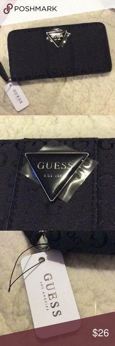 3d42550b41a Women guess coal zip around Wallet Black guess Wallet coal Guess Bags  Wallets