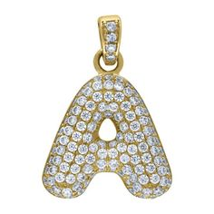 """Yellow Gold Iced Out Cubic Zirconia Mens Womens Bubble Initial Letter """"A"""" Charm PendantItem Number - from Yellow GoldWidth: inches ; Length: inchesGift box Yellow Gold Iced Out Cz Mens Womens Bubble Initial Letter """"A"""" Charm Pendant Letter Pendants, Initial Letters, Initials, Most Beautiful, Bubbles, Charmed, Lettering, Personalized Items, Yellow"""