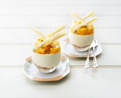 White Chocolate Cheesecake Glasses with Mango and Passionfruit