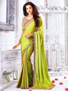 4196a5a334fb9b Price INR Colour   Sea Green Saree Fabric   Two Tone Chiffon Blouse Fabric    Heavy   Fancy Blouse Work   Heavy Embroidery
