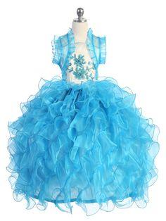 Ivory/Turquoise Taffeta and Organza Ruffle Pageant Dress Kids Party Wear Dresses, Pageant Dresses, Quinceanera Dresses, Girls Dresses, Organza Dress, Ruffle Dress, Princess Flower Girl Dresses, Renaissance Fashion, Spaghetti Strap Dresses