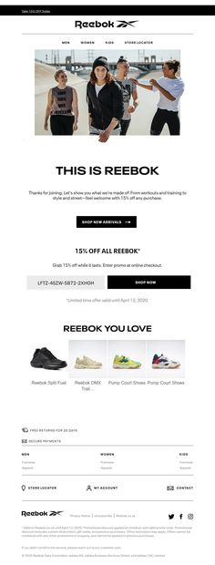 Welcome email with personalized coupon from Reebok #EmailMarketing #Email #Marketing #Welcome #Coupon #Retail #Fashion