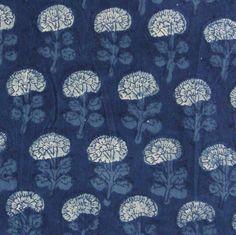 Indian Print Cotton Fabric Indigo Floral Motifs 1 by pallavik