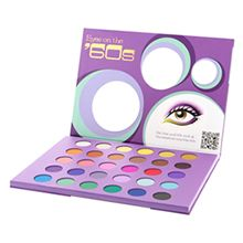 My second favorite eyeshadow palette. Eyes on the '60s Palette has the most beautiful selection of shadows. Bright colors mixed in with shimmers and dark matte colors are an obvious choice for re-creating that mod Sixties look.