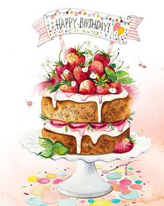 I am planning to produce a collection of a patisserie postcards, do you have your favourite one? Happy Birthday Greetings Friends, Happy Birthday Wishes Images, Happy Birthday Flower, Happy Birthday Pictures, Happy Birthday Sister, Birthday Wishes Quotes, Happy Birthdays, Birthday Sayings, 21 Birthday