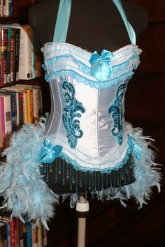 IRIS Blue Burlesque corset costume Showgirl feathered outfit - EVERYTHING INCLUDED by olgaitaly on Etsy https://www.etsy.com/listing/68164480/iris-blue-burlesque-corset-costume