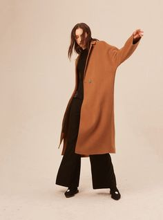 DIDDI Camel Double-Sided Cashmere Wool Maxi Coat