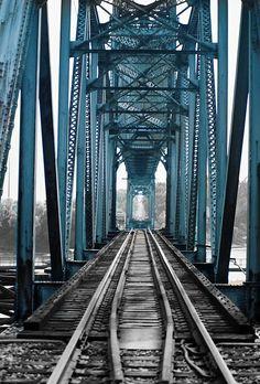 bridge - blue steel and railway tracks - gorgeous industrialism.