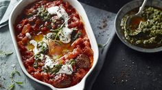 Baked Eggs with lamb kofta - Middle Eastern - A bit of Turkish spice lifts this simple dish, which is suitable for any time of day.