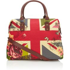 Accessorize Union Jack Weekender (11.210 CRC) ❤ liked on Polyvore featuring bags, bolsas, purses, accessories, handbags, weekender bags, strap bag, decorating bags, butterfly bags and flower bag