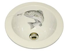 Marzi Round Bath Sink with Striped Bass Design - The Marzi Round Bath Sink with Striped Bass Design is handcrafted for drop-in or undermount installation. Other sink shapes available.