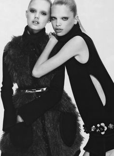 """vogueweekend: """"Lindsey Wixson and Daphne Groeneveld photographed by Mert & Marcus for Miu Miu Fall 2010 """""""