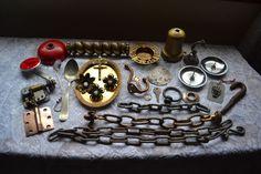 Vintage Antique Junk Drawer Lot Steampunk Metal Lamp Chains, Hardware & Smalls