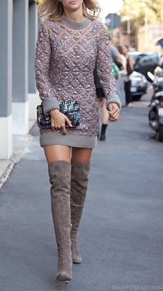 I have these boots and would look like a hooker if I wore them this way. She rocks them though!