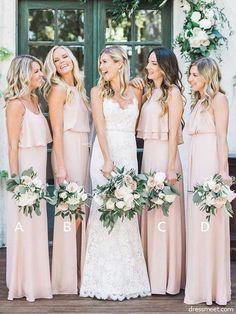 33e72c75af 2018 Fashion Elegant Sheath Peach Chiffon Long Bridesmaid Dresses Under  100
