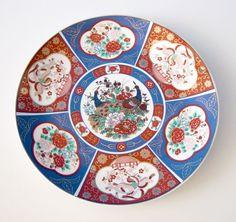 FS-0254 Vintage Japan Imari Ware Porcelain Decorative Plate Peacocks Flowers #Imari