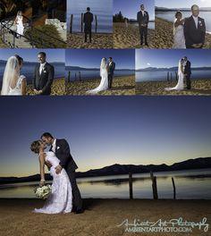 First Look, Wedding, Lake Tahoe, Edgewood Golf course, kiss, bride, groom, dress, flowers, sunset.