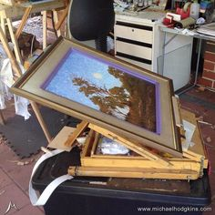 VARNISHING - Using my French Box Easel to varnish a framed painting with Gamvar. The frame is protected with some very light tack masking tape.  The French Box is like a Swiss Army Knife for painters and can be used for multiple tasks not just painting. For more about this easel see my video at  https://youtu.be/zrzaZYjxe30  and  https://youtu.be/Z6DKM0qfqWk ####  Like the painting? It's available to purchase at www.bit.ly/cuspofeve  #####  See my other paintings for sale at…