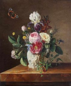 Adolf Blankenburg century) - Flower still life with butterfly, oil on canvas, 50 x 45 cm. Still Life, 19th Century, Oil On Canvas, Like Me, Bouquet, Butterfly, Flowers, Painting, Beauty