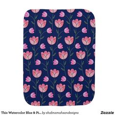 This Watercolor Blue & Pink Floral Burp Cloth  This Watercolor Blue & Pink Floral Design Burp Cloth would make a wonderful baby shower gift for a little girl. This will protect your clothes while burping your sweet baby. Click here to buy http://www.zazzle.com/this_watercolor_blue_pink_floral_burp_cloth-256827827499910048