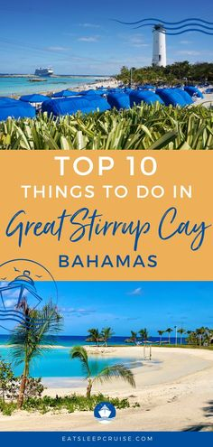 Are you dreaming of a Bahamas cruise? If you book with Norwegian Cruise Line, you'll likely stop at their private island, Great Stirrup Cay. Besides the beautiful Bahamas beaches, NCL has so many things to do in port, it can be hard to decide to make the best use of your time. Here we share the top 10 things to do in Great Stirrup Cay Bahamas. Check out this post and you'll be ready to make the most of your visit. #GreatStirrupCay #Bahamas #NCL #NorwegianCruiseLine #CruiseVacation… Bahamas Beach, Bahamas Vacation, Bahamas Cruise, Cruise Vacation, Cruise Excursions, Cruise Destinations, Great Stirrup Cay Bahamas, Cruise Checklist, Cruise Ship Reviews