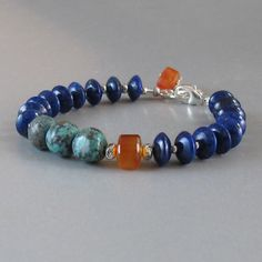 Lapis Lazuli Turquoise Carnelian Bracelet Sterling by DJStrang