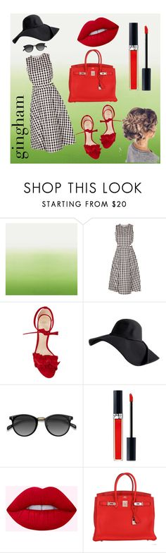 """""""Gingham"""" by heyhelmi ❤ liked on Polyvore featuring Designers Guild, Tanya Taylor, Alexandre Birman, Ace, Christian Dior, Hermès, Summer and gingham"""