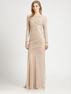 Long sleeve ruched gold glitter reception gown #glitter #sequins