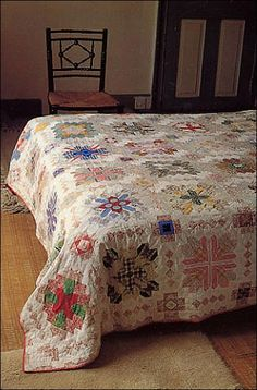 Patchwork of the Crosses, one of the exquisite quilts made by Lucy Boston.