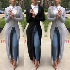 Beat the Chill With An Attractive Black Cardigan Casual Wear, Casual Outfits, Dress Up Jeans, Cute Outfits With Jeans, Classic Outfits, Long Sweaters, Cardigans For Women, Swagg, Autumn Winter Fashion