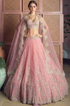 Shop Anushree Reddy Embroidered Lehenga Set , Exclusive Indian Designer Latest Collections Available at Aza Fashions Pink Lehenga, Bridal Lehenga, Lehenga Dupatta, Lehenga Blouse, Bridal Gown, Sarees, Indian Dresses, Indian Outfits, Indian Clothes