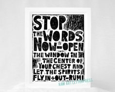 Rumi, Typography Art Print,  Stop the words now, Wall Decor